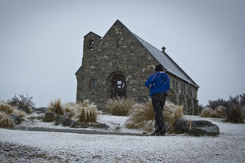 Good Shepherd Church in snow, Tekapo