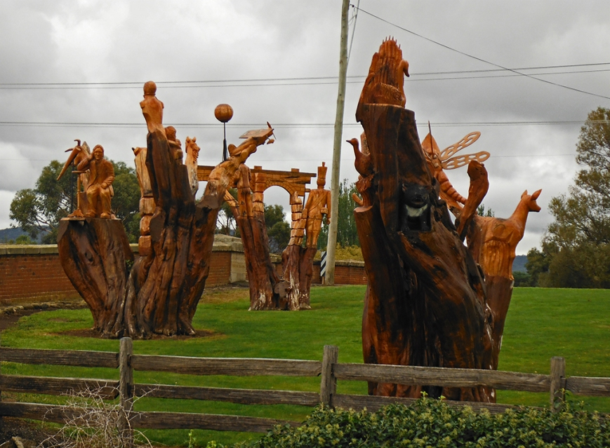 Beautiful wood carvings at the The Red Bridge, Campbell Town